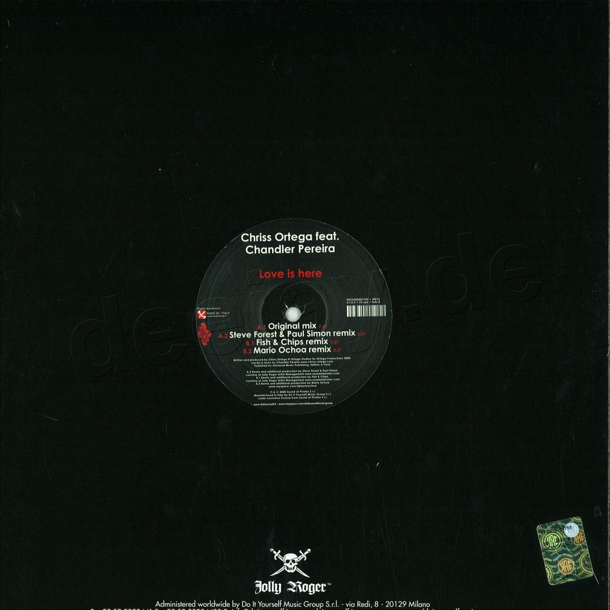 Chriss Ortega Feat  Chandler Pe - Love Is Here / Jolly Roger JR015