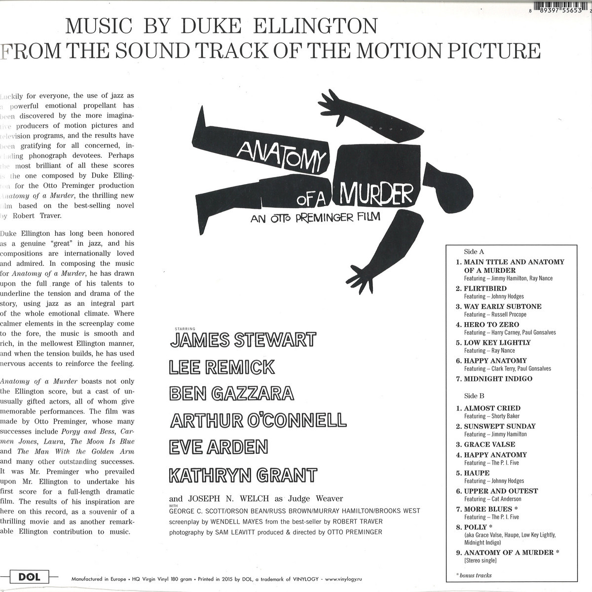 Duke Ellington / Original Score - Anatomy Of A Murder / DOL DOST653H ...