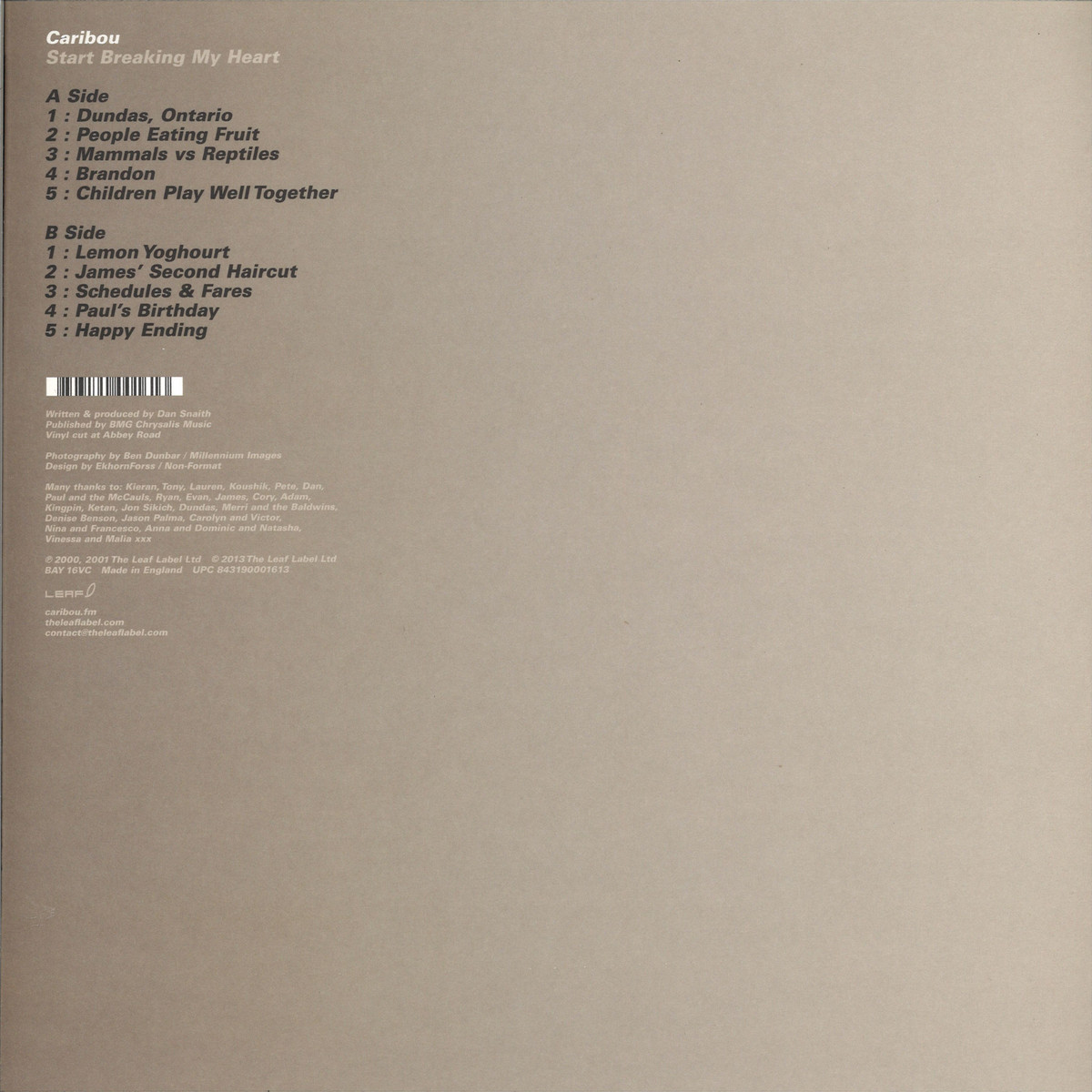 Caribou - Start Breaking My Heart Ltd! / Leaf Label Ltd