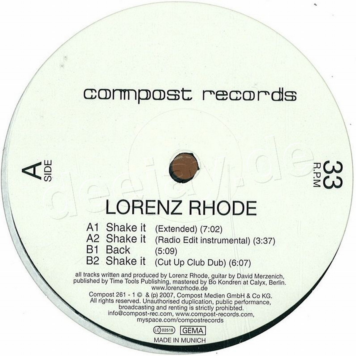 Lorenz Rhode - Shake It/back / Compost Records COMP261-1 ...