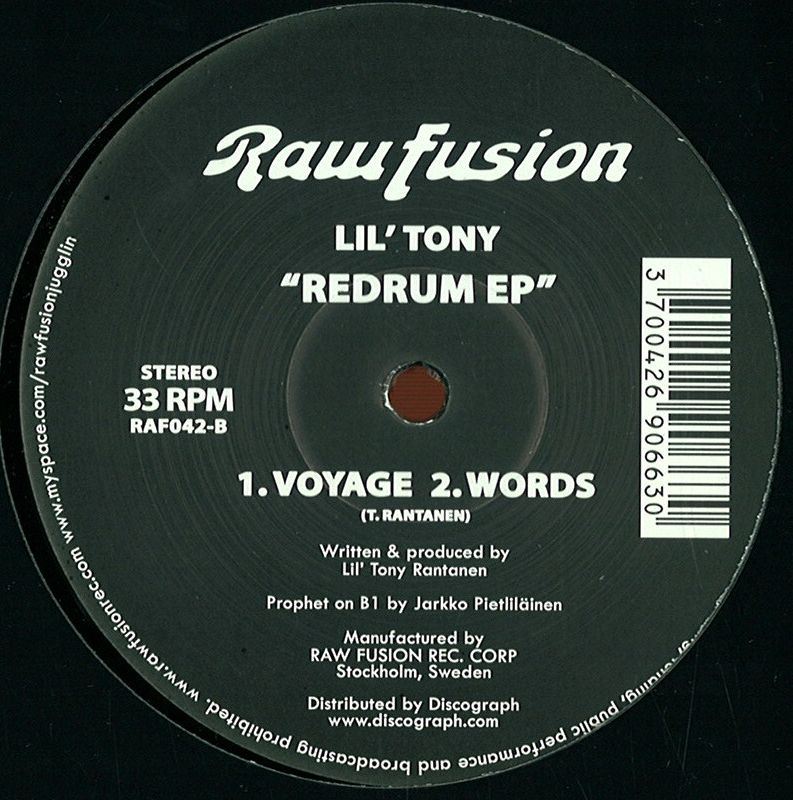 Lil Tony Redrum Words Raw Fusion Raf042 Vinyl