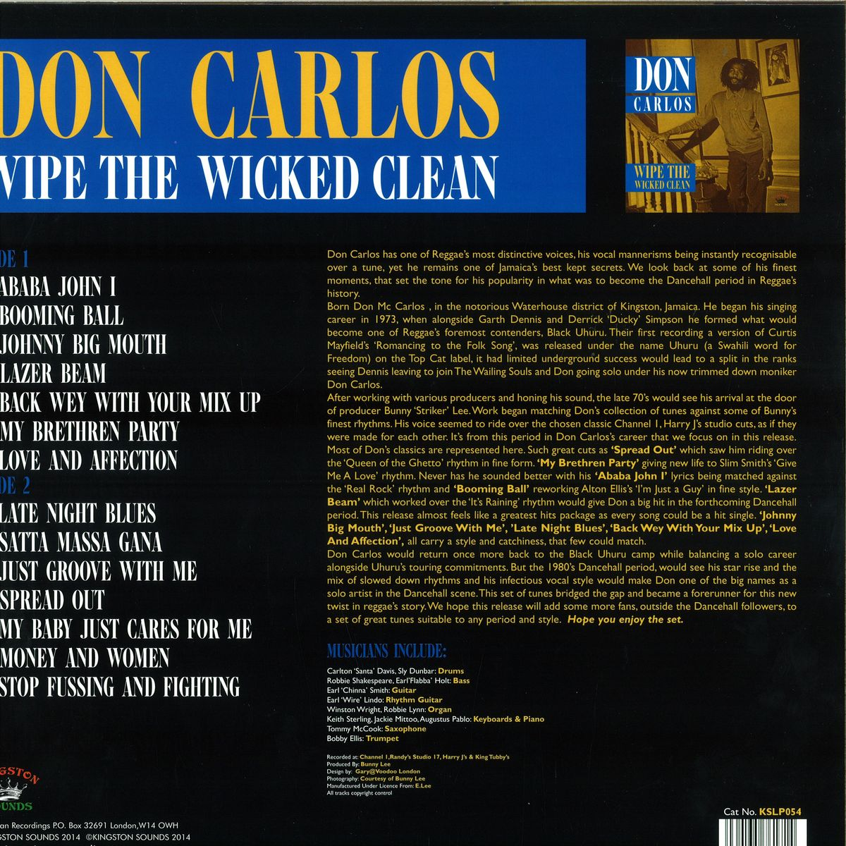 Don Carlos - Wipe The Wicked Clean / Kingston Sounds KSLP054