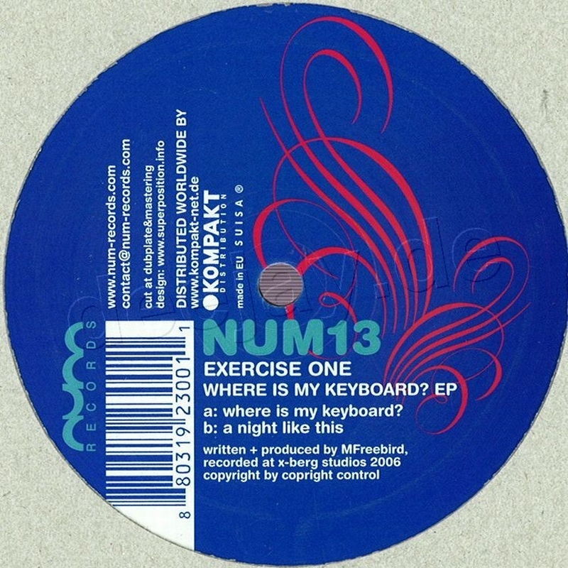 Exercise One - Where Is My Keyboard / Num Records NUM13 - Vinyl