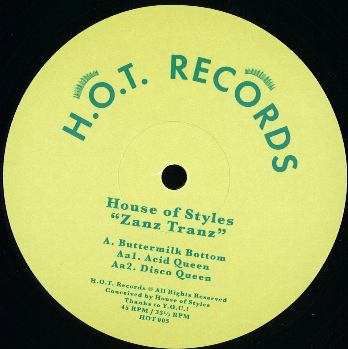 House Of Styles Zanz Tranz hot records HOT005 Vinyl